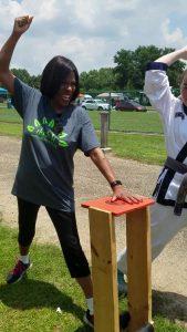 Mayor Broome breaks a board
