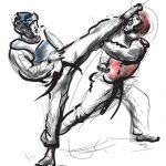 A hand drawn converted vector (in calligraphic) style from series Martial Arts: TAE KWON-DO (is a Korean martial art. It combines combat and self-defense techniques with sport and exercise).