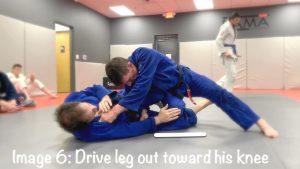 drive leg out toward his knee