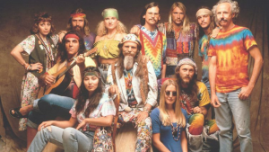 a group of colorful hippies