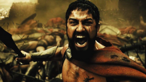 Image of King Leonidas holding his sword screaming