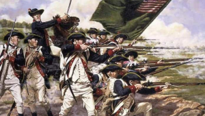 soldiers of the revolutionary war pointing their muskets at their enemy