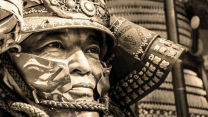 close up of a samurai warrior staring