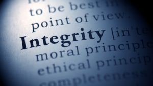 The word integrity highlighted in the dictionary