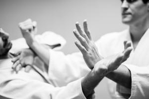 Man performing a martial arts move