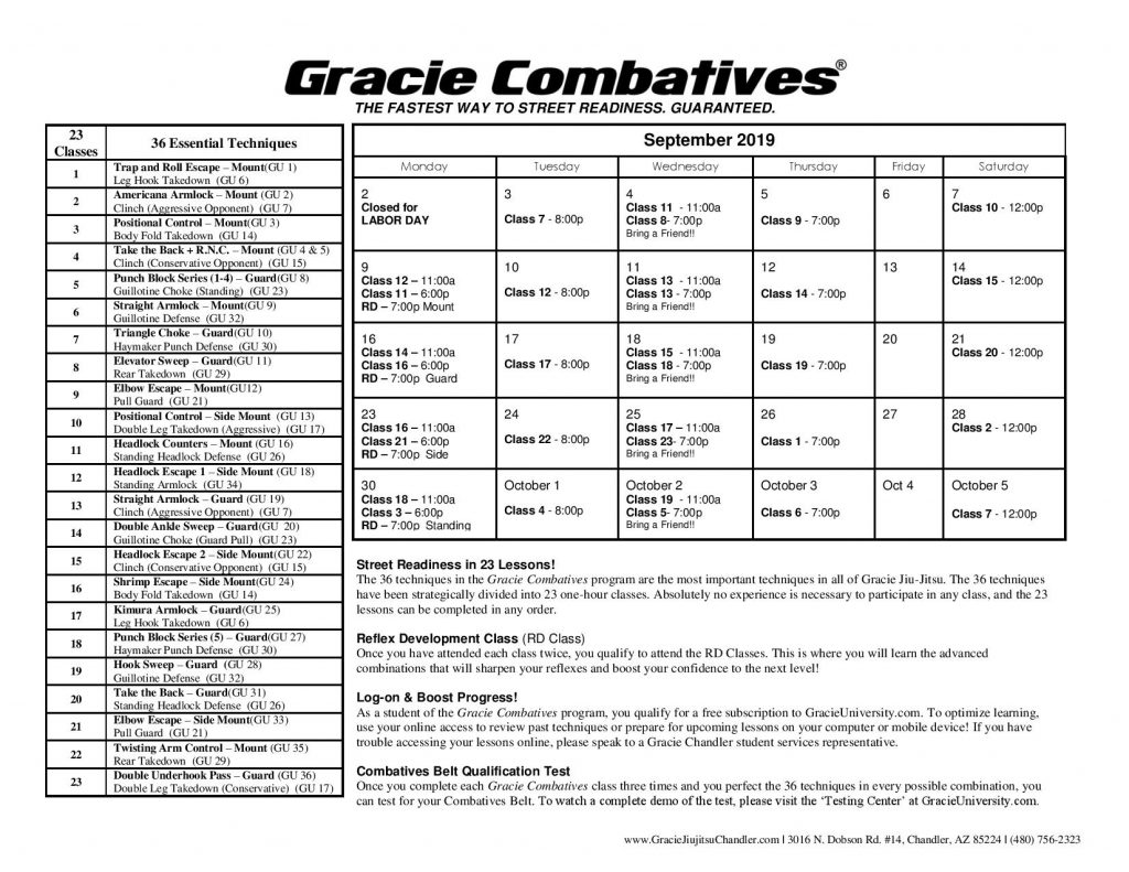 September Combatives Calendar