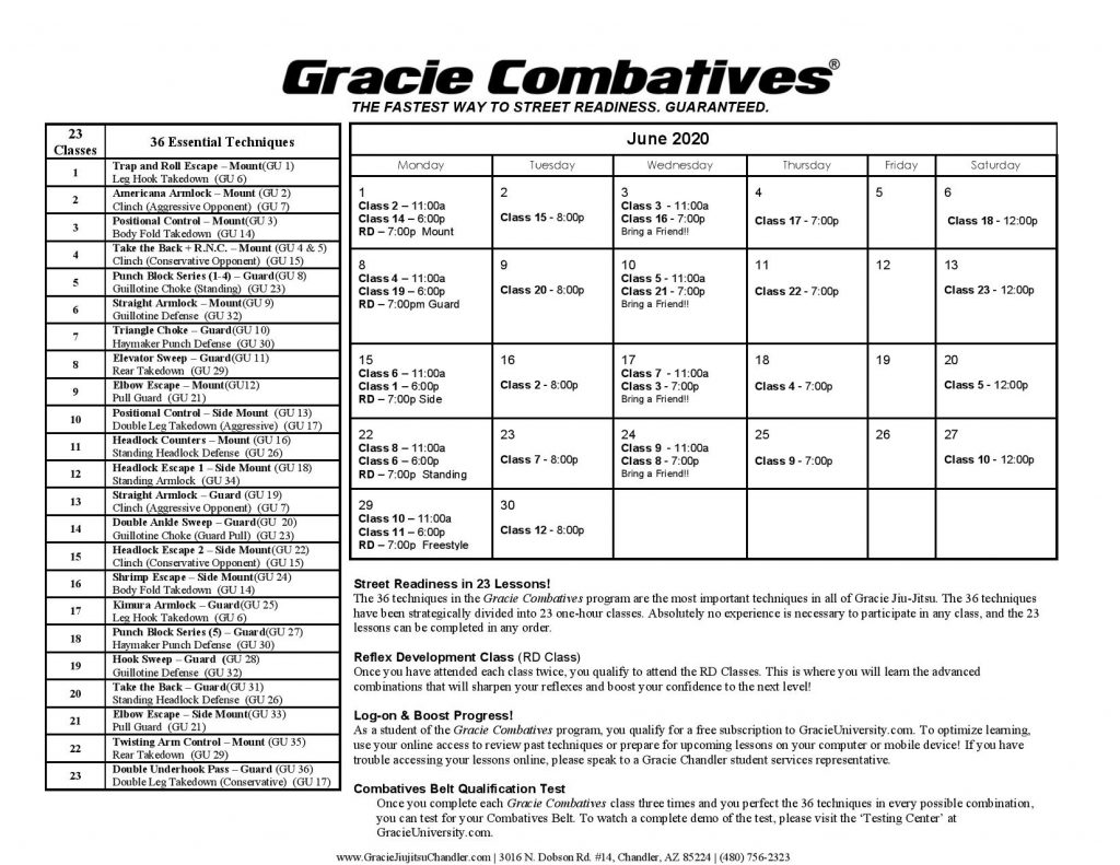 Combatives Calendar June 2020