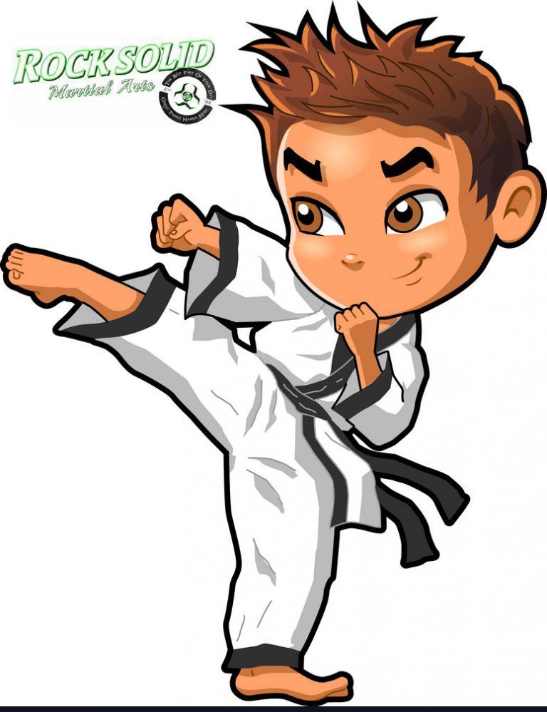 Karate Martial Arts Tae Kwon Do Dojo Vector Clipart Cartoon Boy Rock Solid Martial Arts